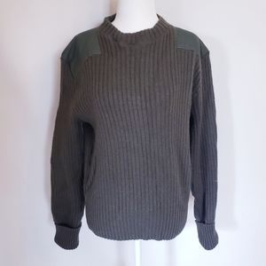 Military Ribbed Green Wool Sweater